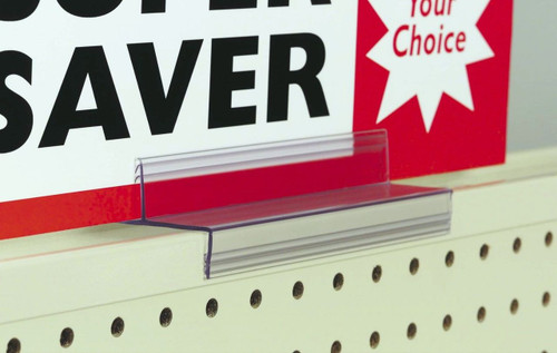Gondola Shelf Top Cap Sign Holder in use.