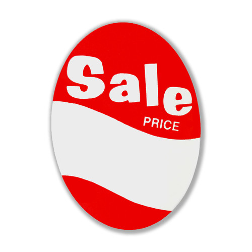 "1000 Large Red & White Oval Sale Price Tag - 3"" W x 4.125"" H"