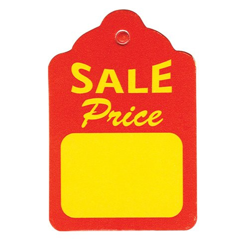 "1000 Small Red & Yellow Unstrung Boutique Sale Price Tags - 1.25"" W x 1.875"" H"
