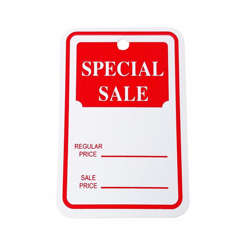 """1000 Small Red & White Sale Price Tags - 1.25"""" W x 1.875"""" H"""