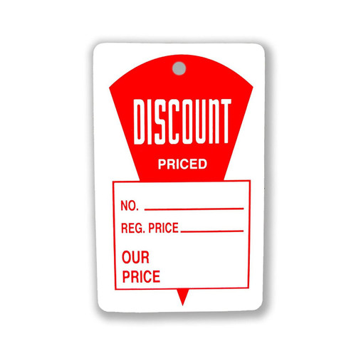 """1000 Discount Priced, Regular Price & Our Price Tags 1.25"""" W x 1.875"""" H"""