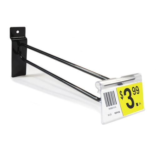 """8"""" Black Slatwall Flip Up Scanner Hooks with Label Holders"""