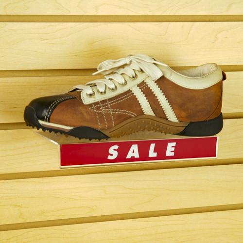 """4"""" x 10"""" Flat Acrylic Slatwall Shoe Shelf with Sign Holding Slot"""