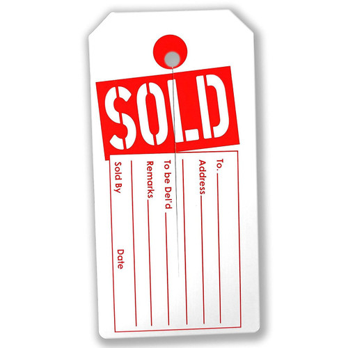"1000 Large ""SOLD"" Tags - Red & White - 2.375"" W x 4.75"" H"