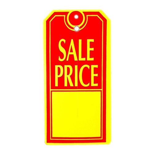 "1000 Large Red Yellow Sale Price Tags - 2.375"" W x 4.75"" H"