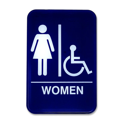 """6"""" W x 9"""" H Women's Accessible Restroom Sign"""