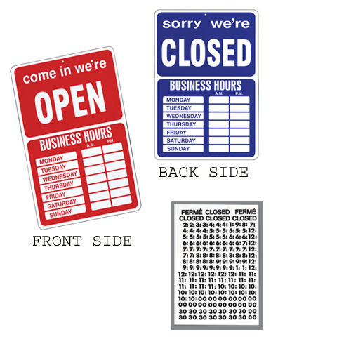 Open Closed Business Hours Window Sign w/Time Sheet Stickers