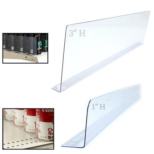 "12"" L Clear Self Adhesive Plastic Shelf Divider"