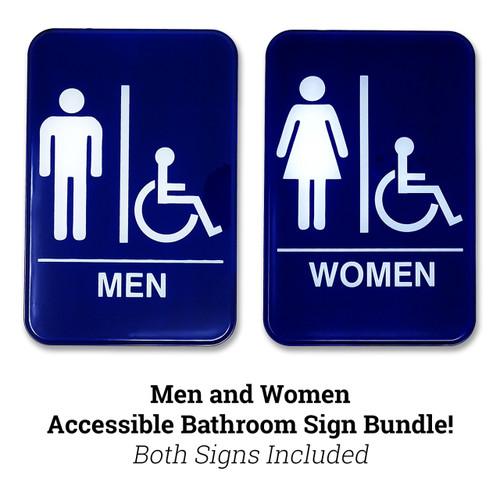 "Men and Women's Accessible Restroom Sign Bundle, 6"" W x 9"" H"