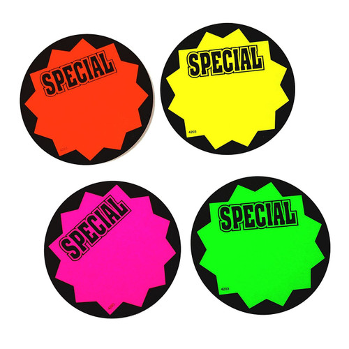 Round SPECIAL Fluorescent Sale Sign Cards - 100 Pack
