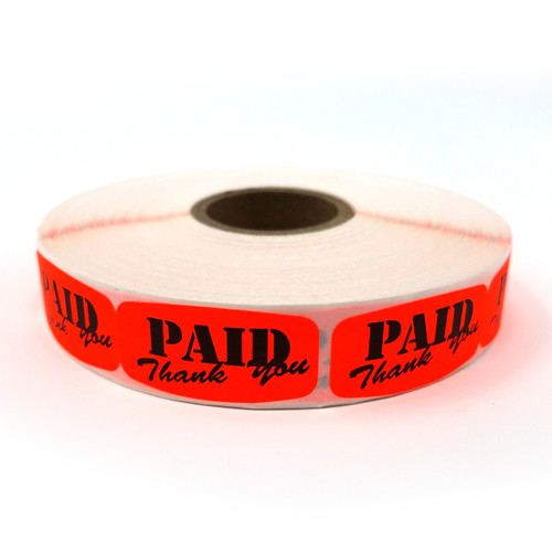 Fluorescent Orange Self-Adhesive PAID Thank You Labels