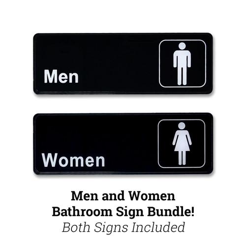 "3"" H x 9"" W Men AND Women's Restroom Sign Bundle"