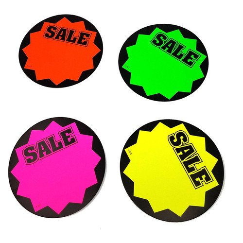 Round SALE Fluorescent Sale Sign Cards - 100 Pack