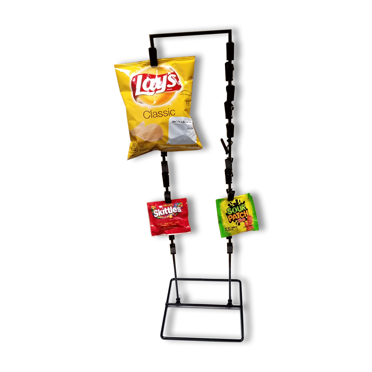 New Single Strip 12 Clip Hanging Potato Chip Red Candy /& Snack Display Rack