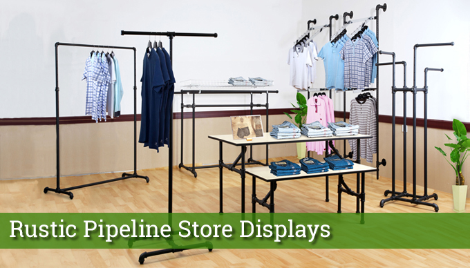 rustic pipeline store displays
