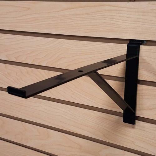 NEW 30cm SLATWALL WOODEN SHELF BRACKETS pair HEAVY DUTY FOR SHOP FITTINGS