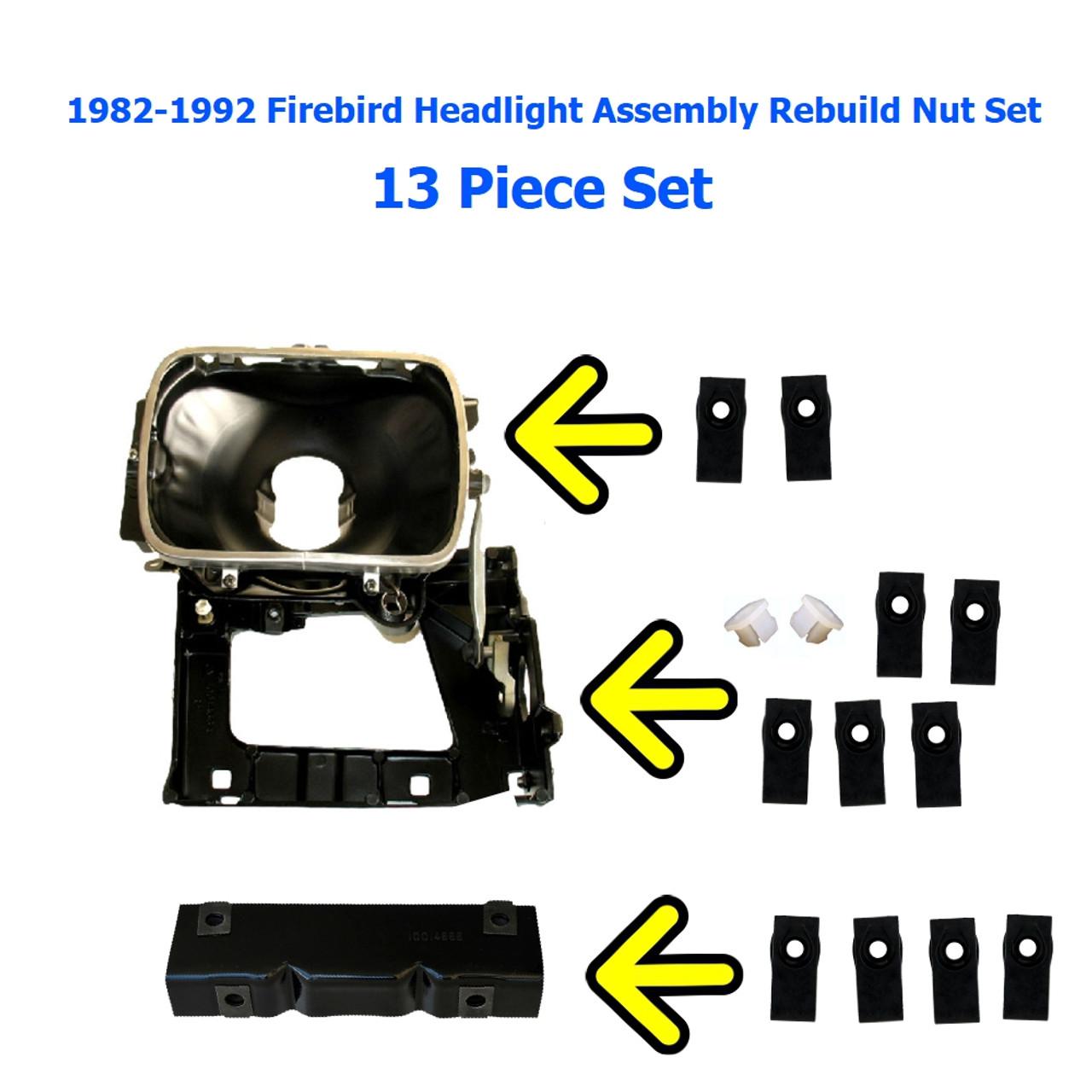 1982-1992 Firebird Headlight Assembly rebuild Nut Set