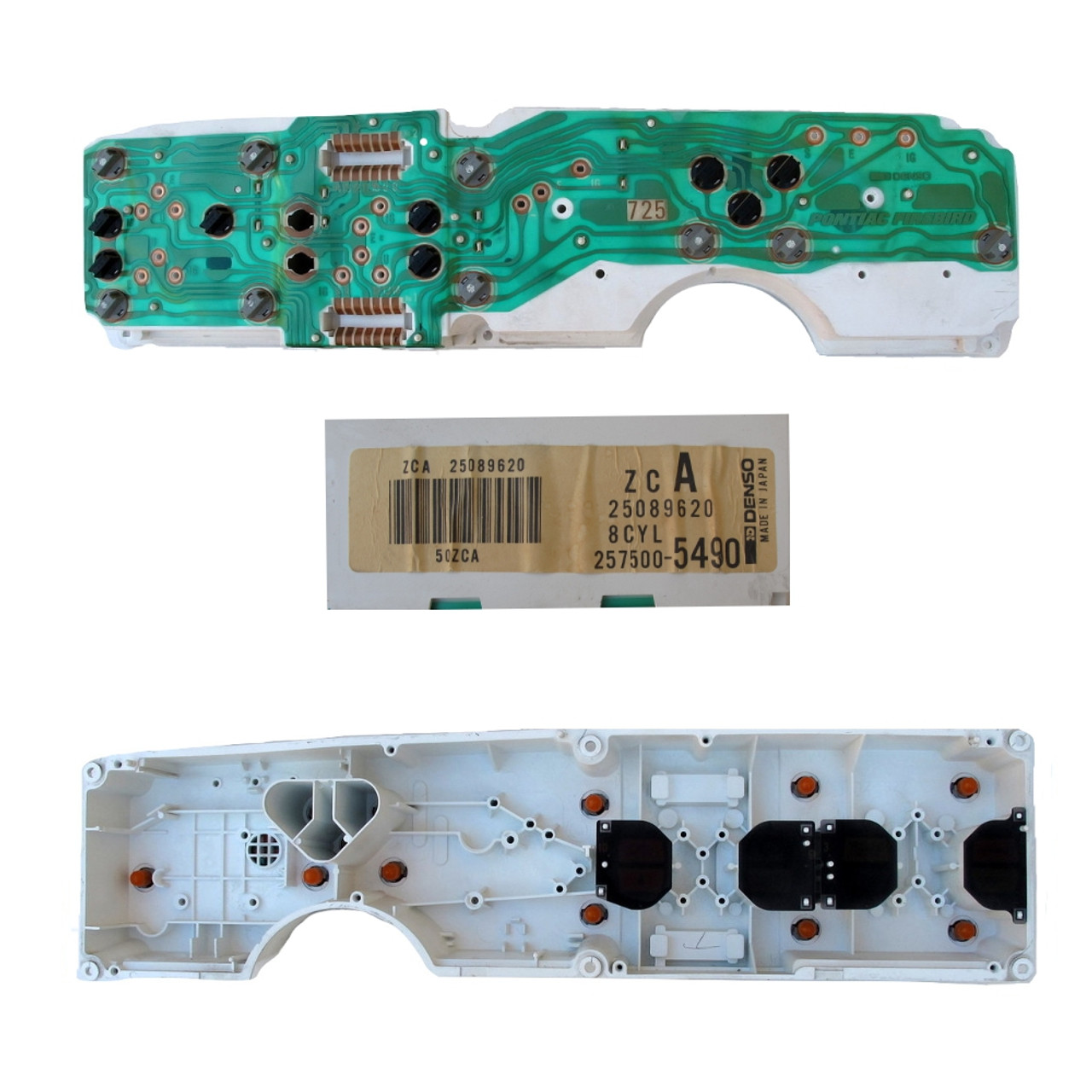 87-92 Firebird V8 Gauge Cluster Printed Circuit Board and case. GM Denso 25089620