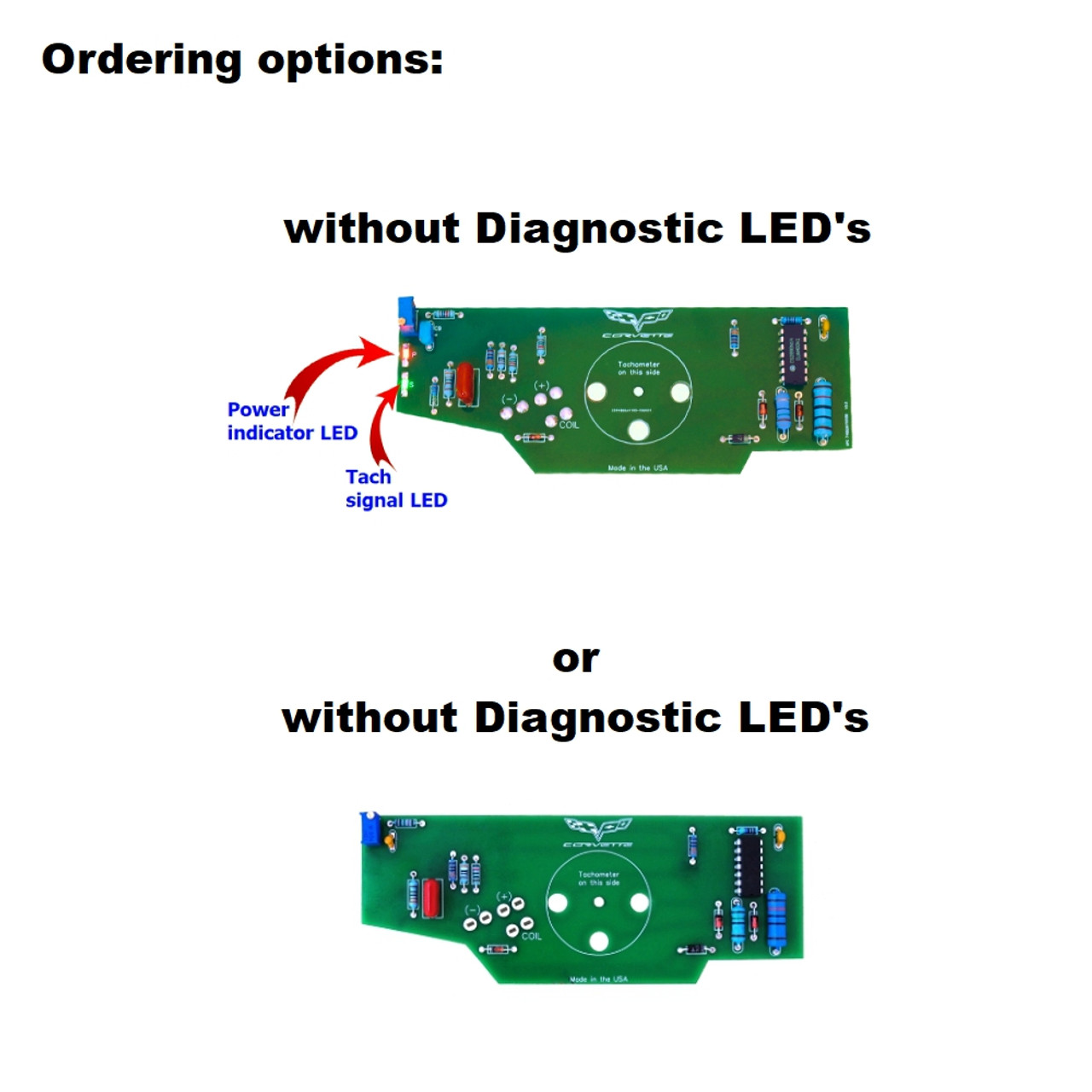 1975-77 Corvette Tachometer Circuit Board - Diagnostic LED option