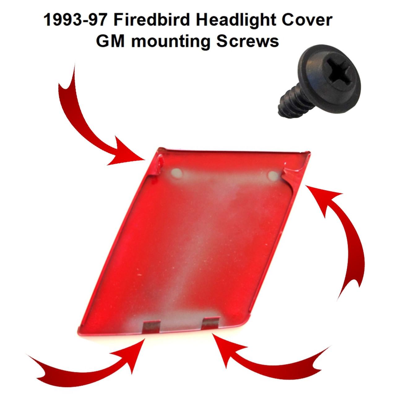 1993-1997 Firebird Headlight Cover GM Mounting Screw Set location diagram