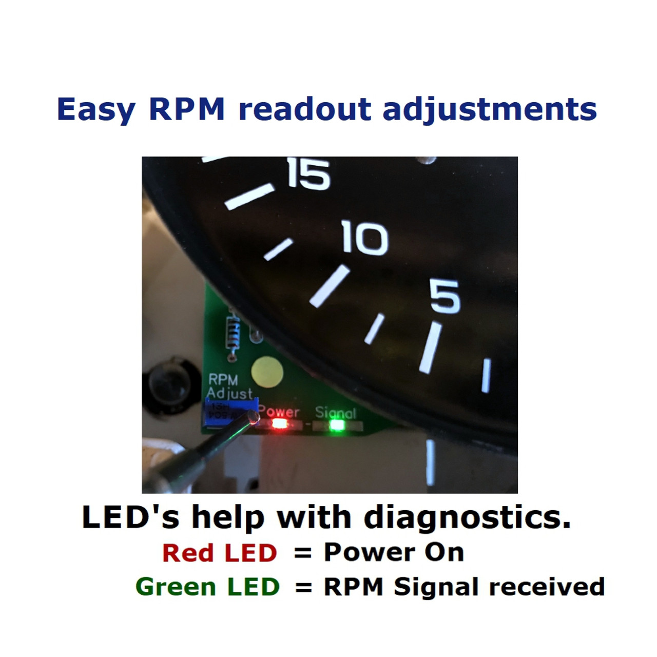 LED's help with diagnostics. Easy to adjust RPM readout.