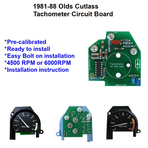 1981-88 Cutlass Tachometer Circuit Board. Pre-Calibrated. Direct replacement.