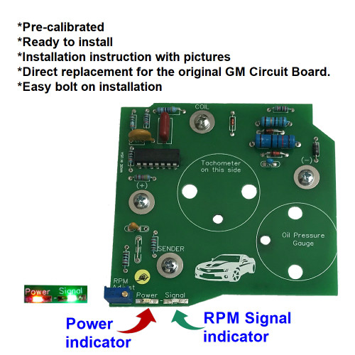 1982-89 Chevy Camaro V8 Tachometer Circuit Board with LED's. Direct replacement