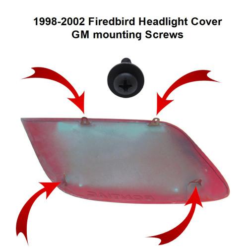 1998-2002 Firebird Headlight Cover GM Mounting Screw Set location diagram