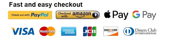 Fast and easy checkout with Google Pay, PayPal, Apple Pay, Amazon Pay banner