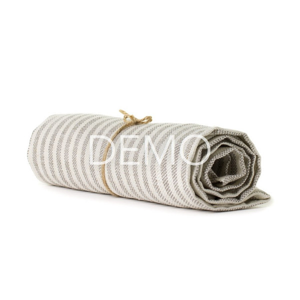 Fog Linen Chambray Towel - Beige Stripe