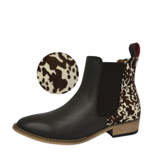 leather cow print dress boot