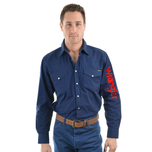 wrangler mens rodeo logo shirt