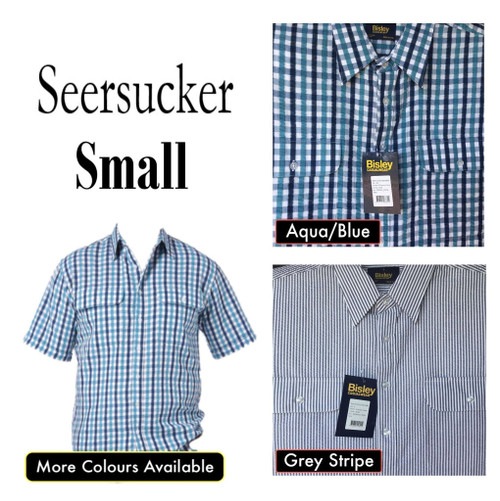 Bisley Mens Seersucker Short Sleeve Shirt Small
