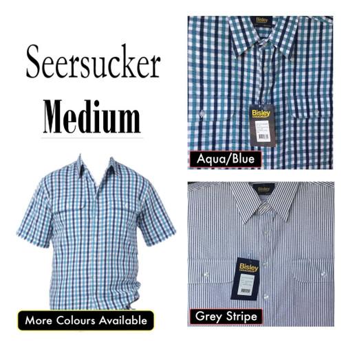 Bisley Mens Seersucker Short Sleeve Shirt Medium
