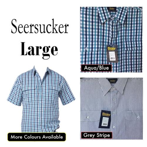 Bisley Mens Seersucker Short Sleeve Shirt Large