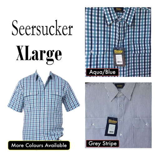 Bisley Mens Seersucker Short Sleeve Shirt XLarge