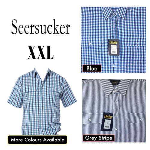 Bisley Mens Seersucker Short Sleeve Shirt 2XL
