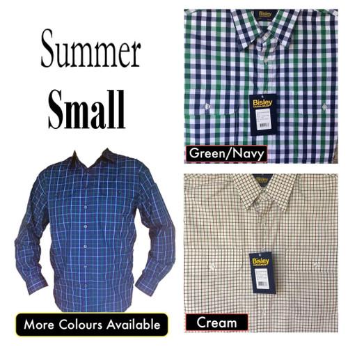 Bisley Mens Summer Long Sleeve Shirt Small