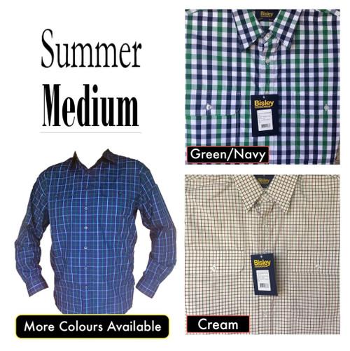 Bisley Mens Summer Long Sleeve Shirt Medium