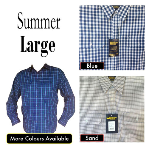 Bisley Mens Summer Long Sleeve Shirt Large