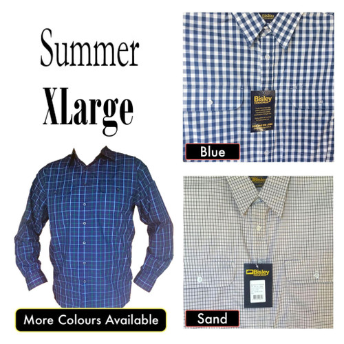 Bisley Mens Summer Long Sleeve Shirt XLarge