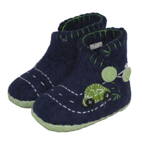 Hand Felted Toddler Slippers in Blue with a Green Car