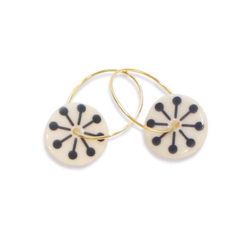 Navy Blue Star Porcelain Creole Earrings