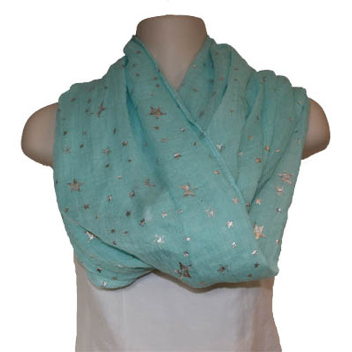 Super lightweight tube scarf in mint with silver stars