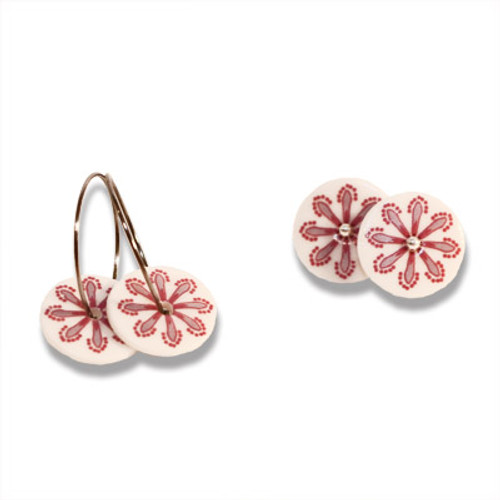 Creole Earrings w. Pink & Purple Flower