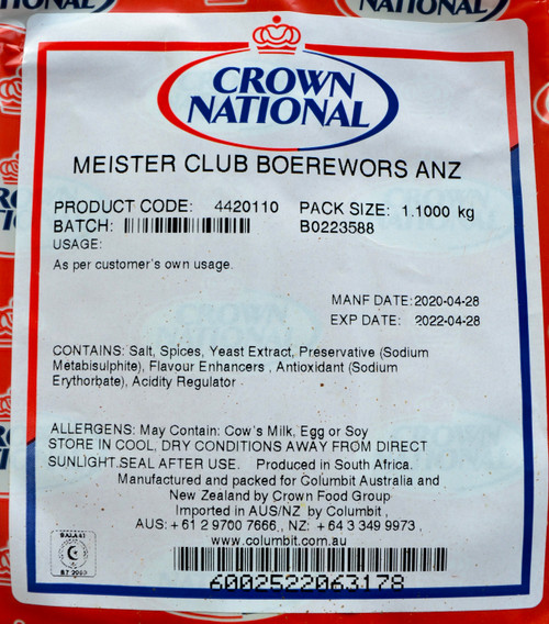 CROWN NATIONAL MEISTER CLUN BOEREWORS SPICE ANZ MSG-FREE