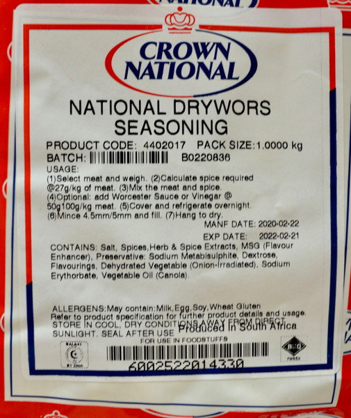 CROWN NATIONAL NATIONAL DRYWORS SEASONING