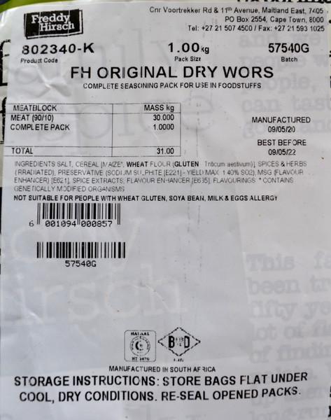 FREDDY HIRSCH ORIGINAL DRYWORS SPICE