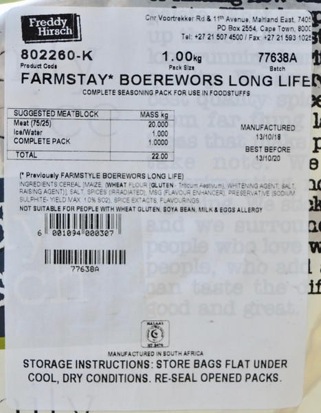 FREDDY HIRSCH FARMSTAY BOEREWORS LONG LIFE