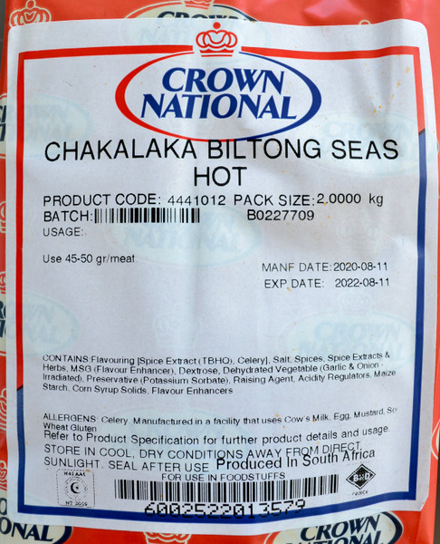 CROWN NATIONAL CHAKALAKA BILTONG SEASONING HOT 2 KGS